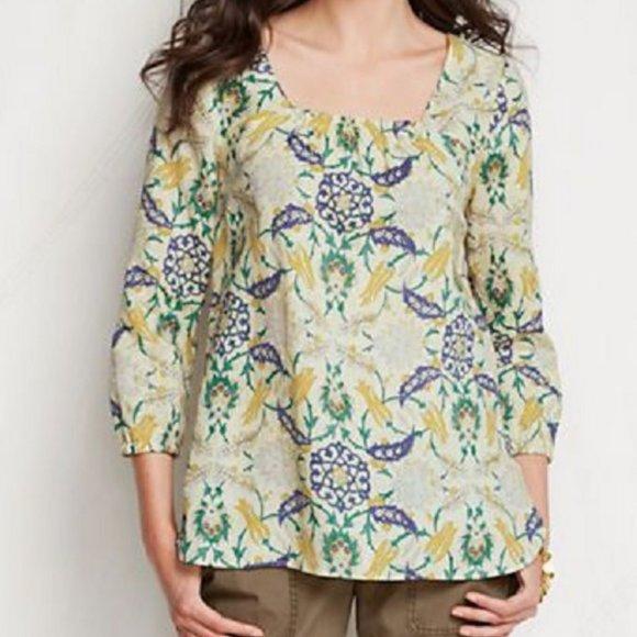 Lands End Floral Linen Blouse Top 3/4 Sleeve S